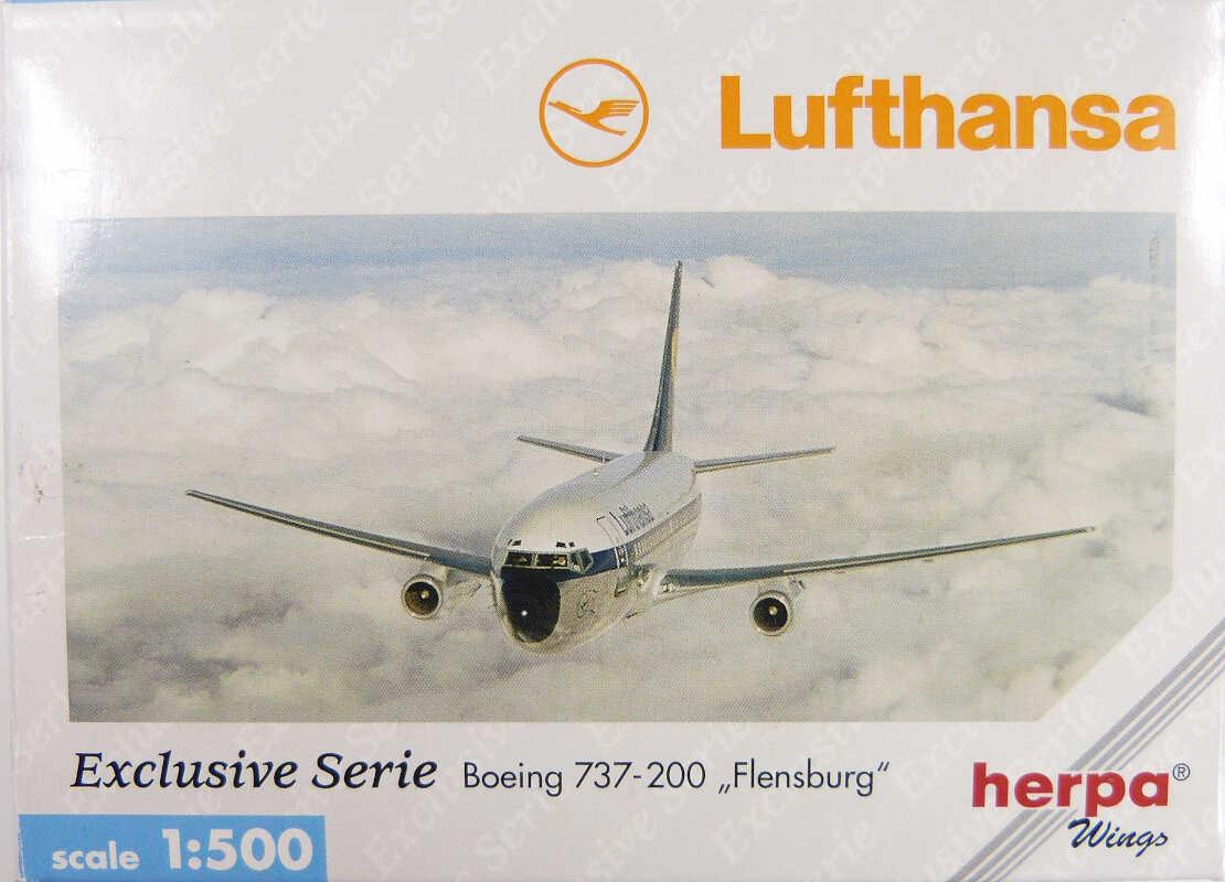 """Boeing 737-200 Lufthansa """"Flensburg"""" D-ABFB Herpa 515931 1:500"""